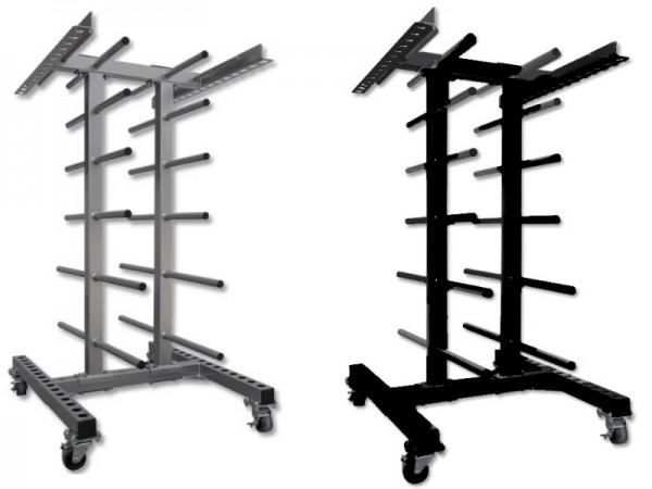 Aerobic Set Ständer - Rollwagen Schwarz oder Silber