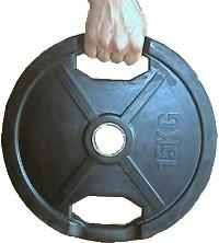 Hantelscheibe, 51mm, gummiert, Grifflöcher