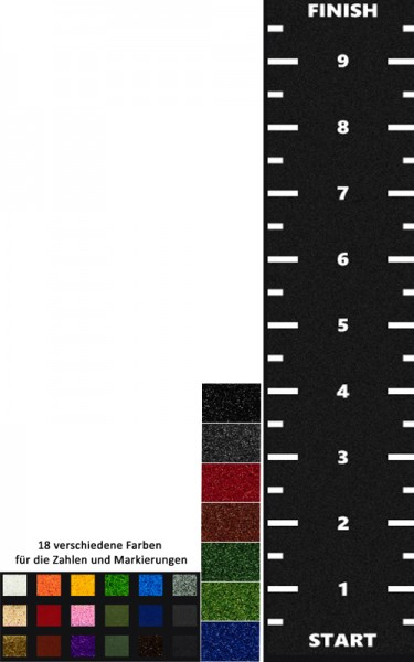 2 Meter Breite - Länge nach Wahl -Markierung + Zahlen + Start/Finish