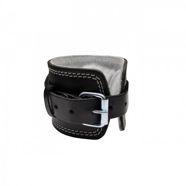 Fußschlaufe LEDER / Schwarz mit dicker Polsterung - Dorn-Verschluss