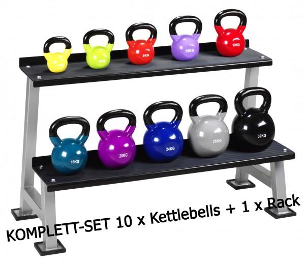Kettlebell-Set 10 Kettlebells + Rack SONDERPREIS