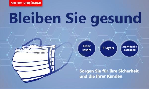 Mundschutz-Einwegmaske 3-Lagig - EINZELN VERPACKT!!! - Box a 50 Stück